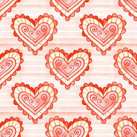 Heart seamless pattern. Valentines Day Illustration background.