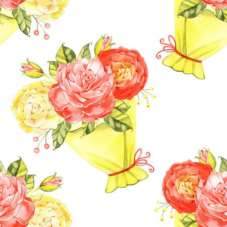 Seamless floral pattern with roses, watercolor illustration background. Banco de Imagens