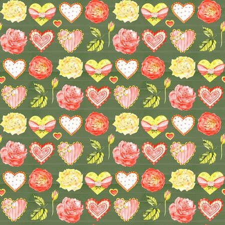 Red romantic seamless pattern with heart. Hand painted watercolor stock illustration. Perfect for birthday, valentine, wedding invitations cards.