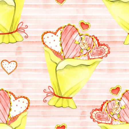 Seamless pattern with funny hearts. Watercolor texture.