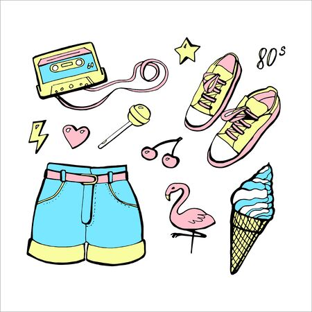 Cute pastel summer objects. Vector hand drawn retro set. 80s, 90s.