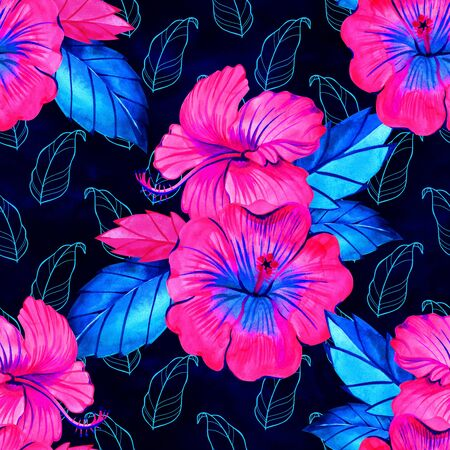 hibiscus tropical watercolor seamless background