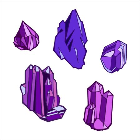 Purple bright shiny uncut sharp crystals isolated cartoon cartoon flat vector illustration on white background.