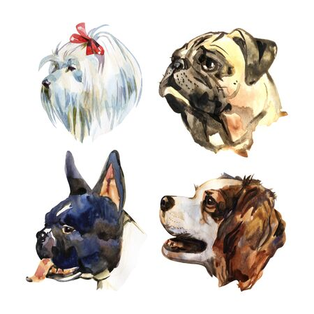 Cartoon small dogs. Watercolor hand drawn illustration Standard-Bild