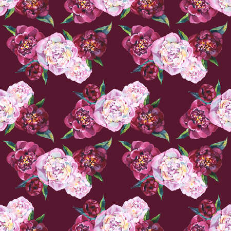 Seamless background, floral pattern with watercolor flowers pink peonies and burgundy roses. Repeating fabric wallpaper print texture. Perfectly for wrapped paper, backdrop, frame or border.
