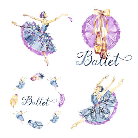 Watercolor set with girl ballerinas dancers, ballet pointes, feathers. Hand-drawn illustration isolated on white background.