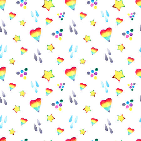 Watercolor nursery boho raindow pattern, baby boy and girl rainbow background. Magic rainbows wallpaper.