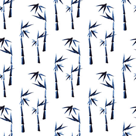 Seamless floral pattern with bamboo on white background, traditional Japanese ink painting in sumi-e style.