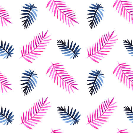 Seamless exotic pattern with tropical leaves Walercolor illustration.