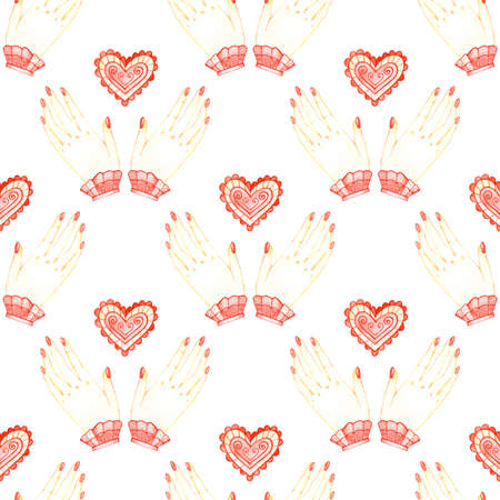 Seamless pattern love alchemy hand in watercolor style on white background. Hand drawn magic illustration.