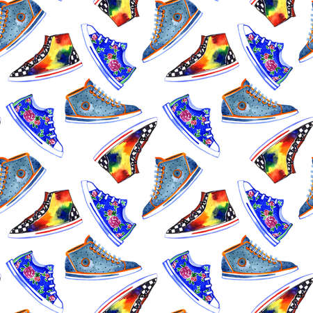 Watercolor multicolored sneakers pattern on white background