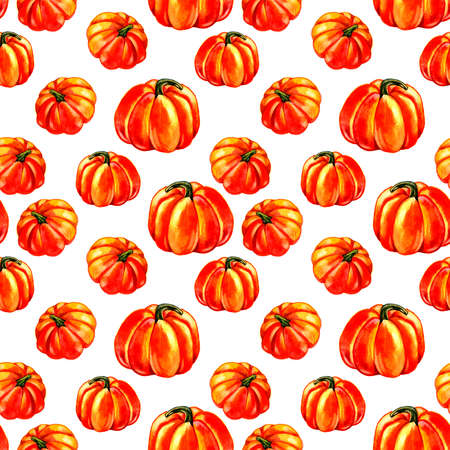 Halloween pumpkins seamless pattern. Watercolor illustration on white background. 写真素材