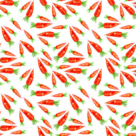 Watercolor hand drawn seamless pattern with carrot.  eco food illustration