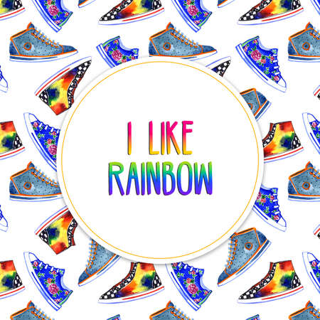 Like watercolor graphic rainbow colored square circle background