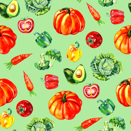 Watercolor vegetable seamless pattern. Hand drawn illustration.
