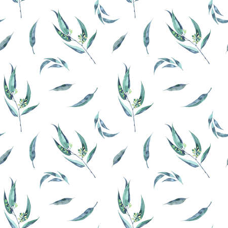 Seamless herbal pattern with leaves. Watercolor illustration 写真素材