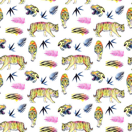 jungle seamless pattern illustration in watercolor. Watercolor illustration.