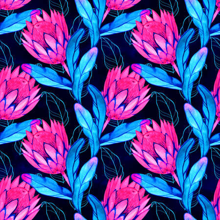 Hand-drawn watercolor seamless tropical pattern with pink protea flowers. Colorful exotic summer print with floral elements for the textile and wallpapers