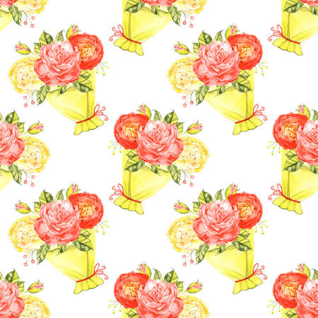 Seamless Roses Background. Watercolor vintage seamless pattern. 写真素材