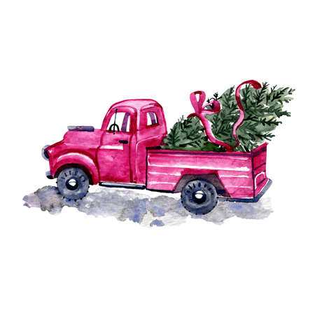 Watercolor pink tree truck. Red Christmas truck with pine tree and gift boxes. New year hand drawn watercolor illustration. New year watercolor red vintage car, retro truck with green christmas tree.
