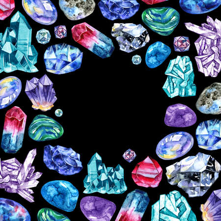 Watercolor gem stones square frame. Hand painted card design with multicolor crystals isolated on black background. 写真素材