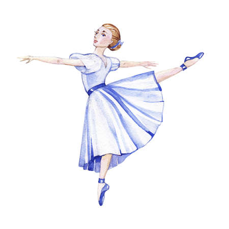 Watercolor ballerina in blue dress isolatedon white background. 写真素材