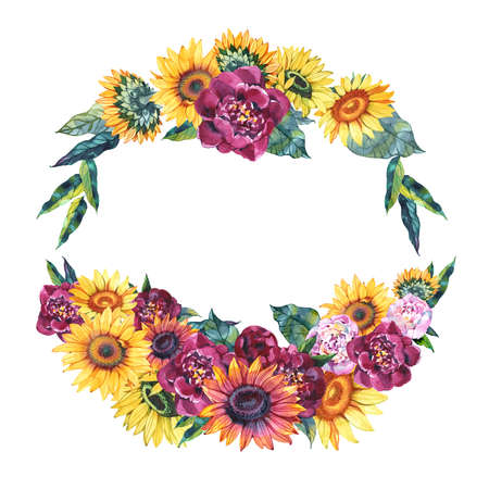 A wreath with hand drawn watercolor flowers roses, peonies, sunflowers, and tulips and butterflies, with copyspace
