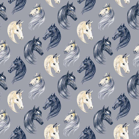 Watercolor painting seamless pattern with horses portraits