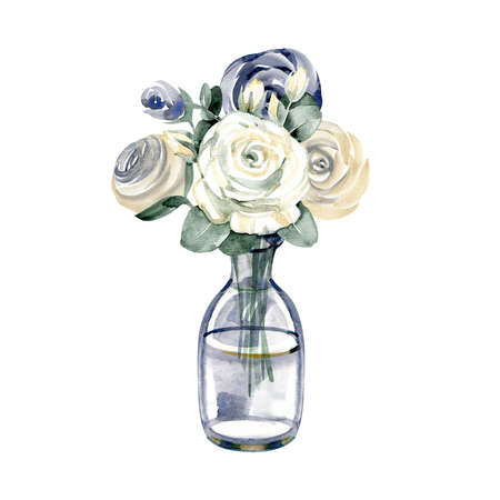 Fashion illustration with glass bottle and rose flowers