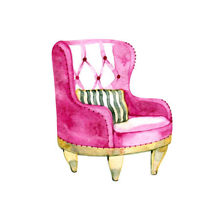 Hand painted watercolor illustration of cozy retro classic chair in bohemian style.