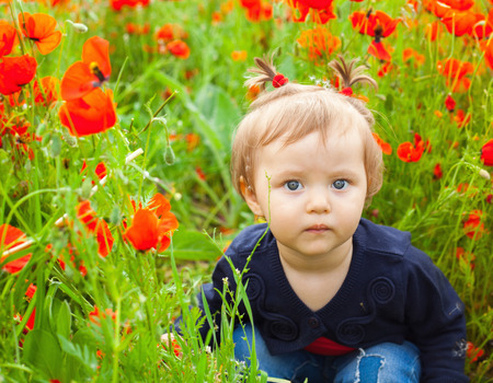 Field of flowers. Little girl sitting in field of flowers