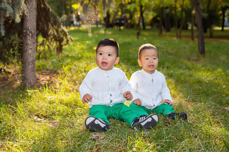 hapy: Two little Asian child playing in the Park, sitting on the grass, posing smiling Stock Photo