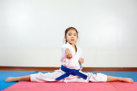 Children during training in karate. Fighting position, active lifestyle Stock Photo