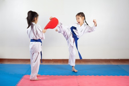 defensa personal: Two little girls demonstrate martial arts working together. Fighting position, active lifestyle, expressing emotions Foto de archivo