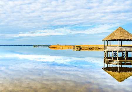 This is a view form Historical Corolla Park. Looking out at Whole Head Bay in Corolla NC. at the Outer Banks Stockfoto