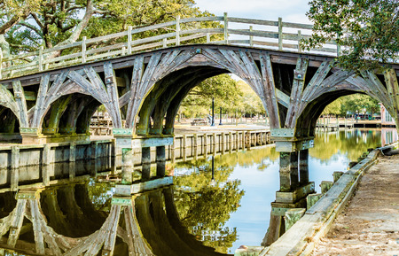 This is a Bridge in Historical Corolla Park. Looking out at Whole Head Bay in Corolla NC. at the Outer Banks