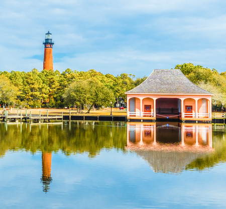 The historic Currituck Lighthouse is located in Corolla North Carolina In the Outer Banks