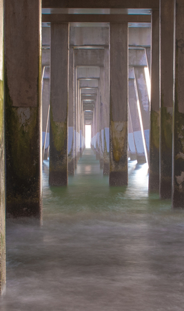 A Morning look under Jennettes pier in Nags Head, North carolina, in the Outer Banks.