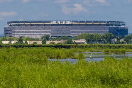 A view of the Met Life stadium from out in the Meadowland in New Jersey.
