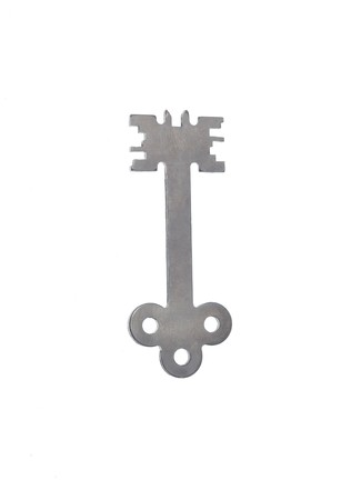 unic steel modern key on white background 2 photo