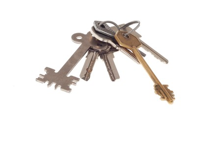 restraining device: Different keys connected each other on white background 2