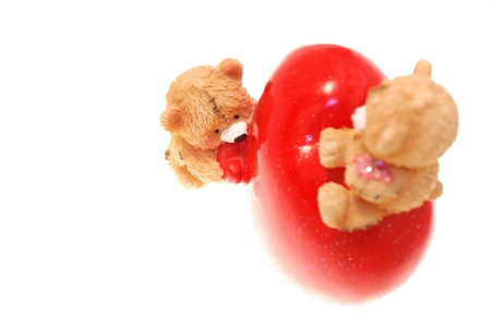Teddy`s with heart isolated on white background 8 photo