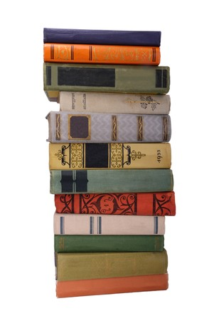 stack of old color books isolated 2 photo