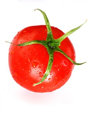 pedicel: Wet fresh red tomato isolated 6 Stock Photo