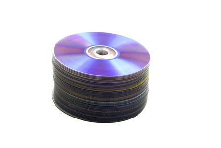 digitally generated: Stack of dvd disks isolated 1  Stock Photo