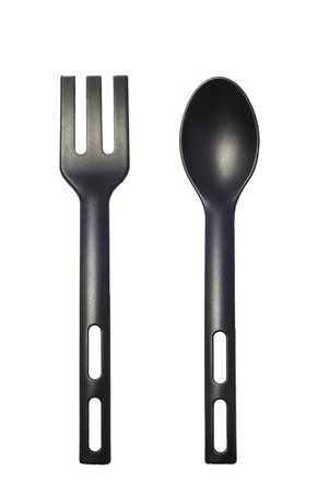 isolated black spoon and folk Stock Photo - 4583924