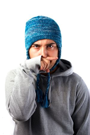 offended: Offended youn man isolated Stock Photo