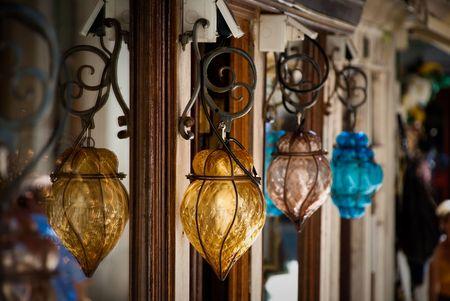 geranium color: murano glass lights Stock Photo