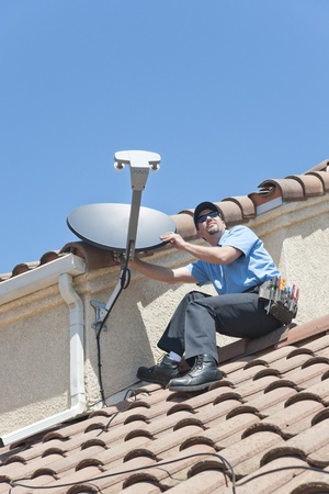 Satellite Installer on Roof