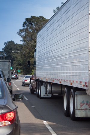 Big Rig Sitting in Traffic Stock Photo